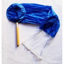 "Tom's Aquatics Blue Sock Net w/ Wood Handle 10"" Diameter"